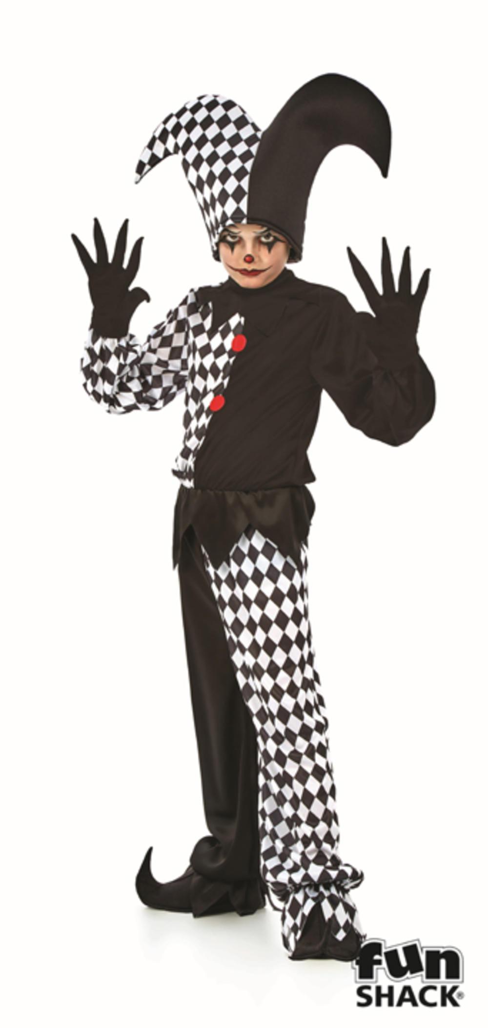 Jester Boys Fancy Dress Gothic Circus Clown Joker Kids Scary Halloween Costume