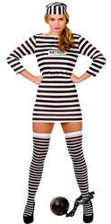 Jailbird Convict Ladies Fancy Dress Prisoner Uniform Womens Halloween Costume