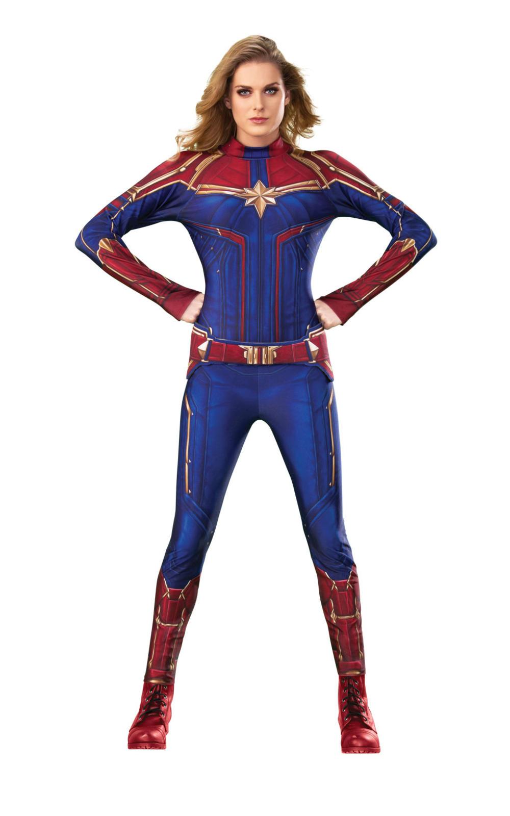 Captain Marvel Hero Suit Ladies Fancy Dress Comic Book Superhero Adults Costume