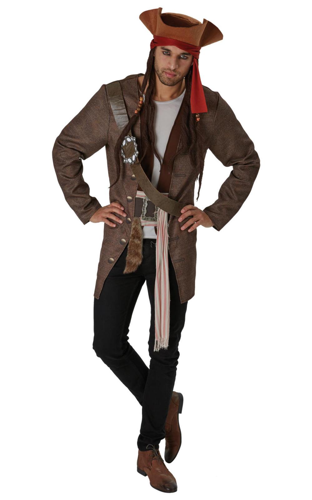 Jack Sparrow Mens Fancy Dress Pirates of the Caribbean Disney Film Adult Costume
