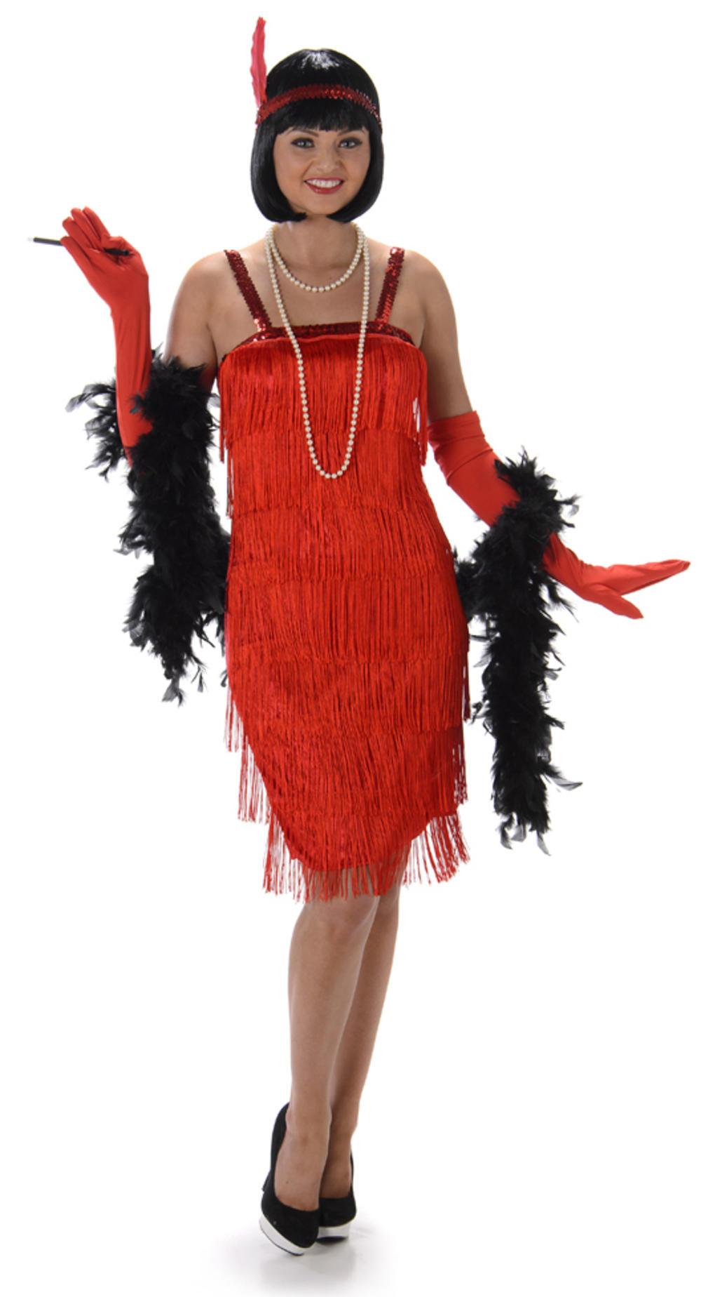 Red Flapper Ladies Fancy Dress 20s 1920s Jazz Charleston Womens Adults Costume