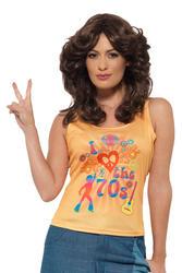 70s Love Top Ladies Fancy Dress 1970s Hippie Groovy Womens Adults Costume Shirt