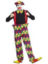 Fnny Clown Mens Fancy Dress Circus Carnival Joker Adults Novelty Costume Outfit