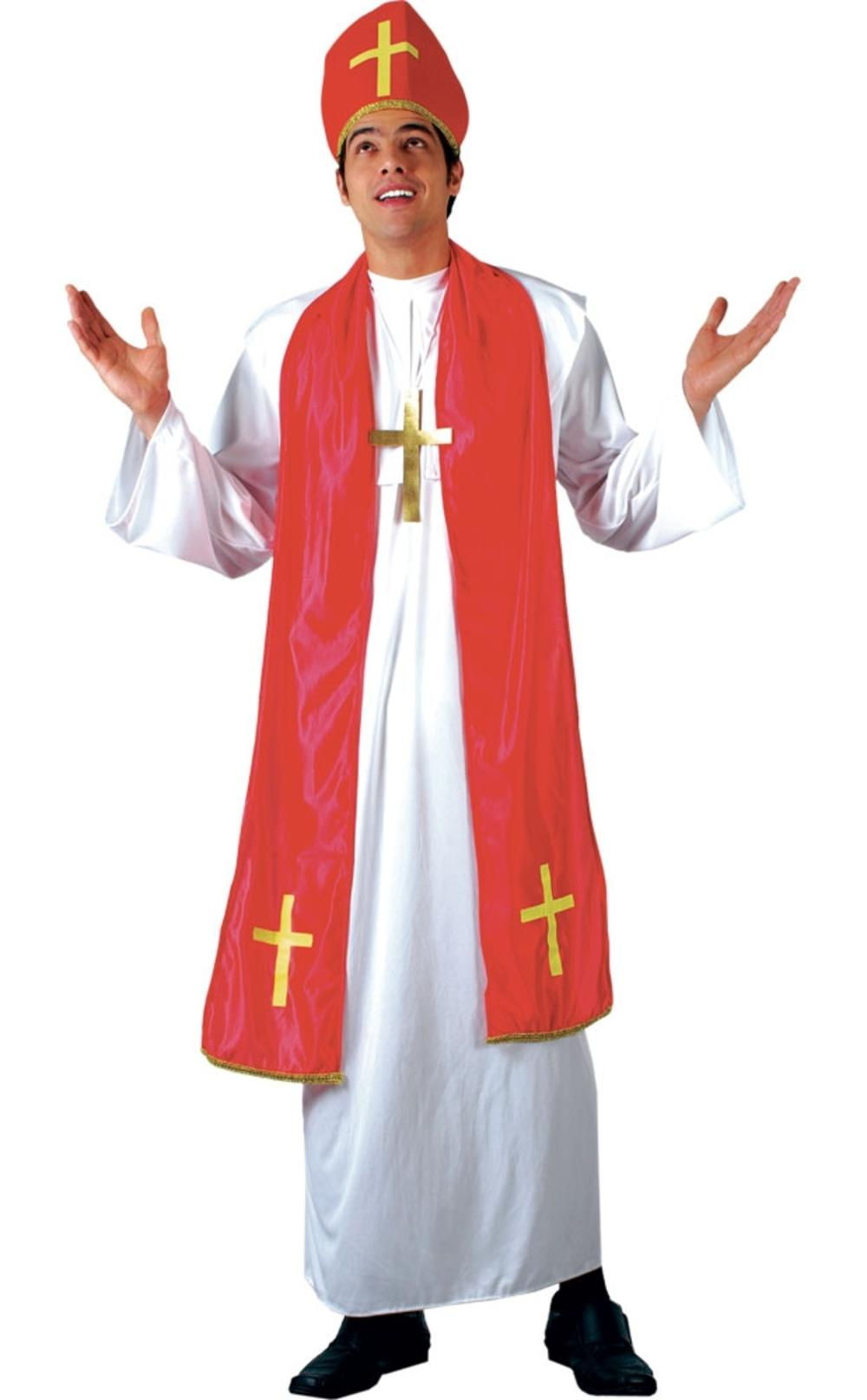 Holy Cardinal Mens Fancy Dress Saint & Sinners Priest Adults Religious Costume