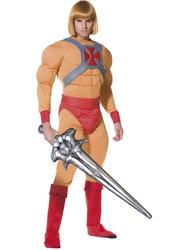 He Man Mens Fancy Dress Superhero 1980s Muscle Cartoon Adults Costume Outfit New