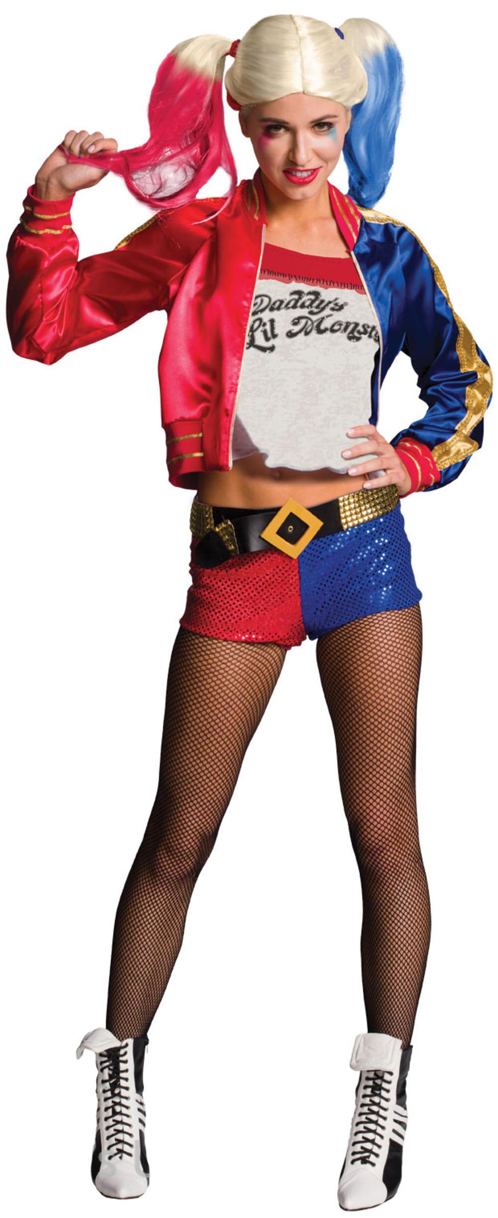 Harley Quinn Ladies Fancy Dress Halloween Suicide Squad Womens Villain Costume