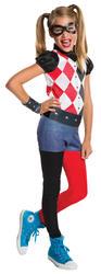Harley Quinn Girls Fancy Dress DC Comic Book Day Supervillain Childs Costume New