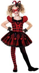 Harlequin Cutie Girls Halloween Fancy Dress Carnival Circus Childs Kids Costume
