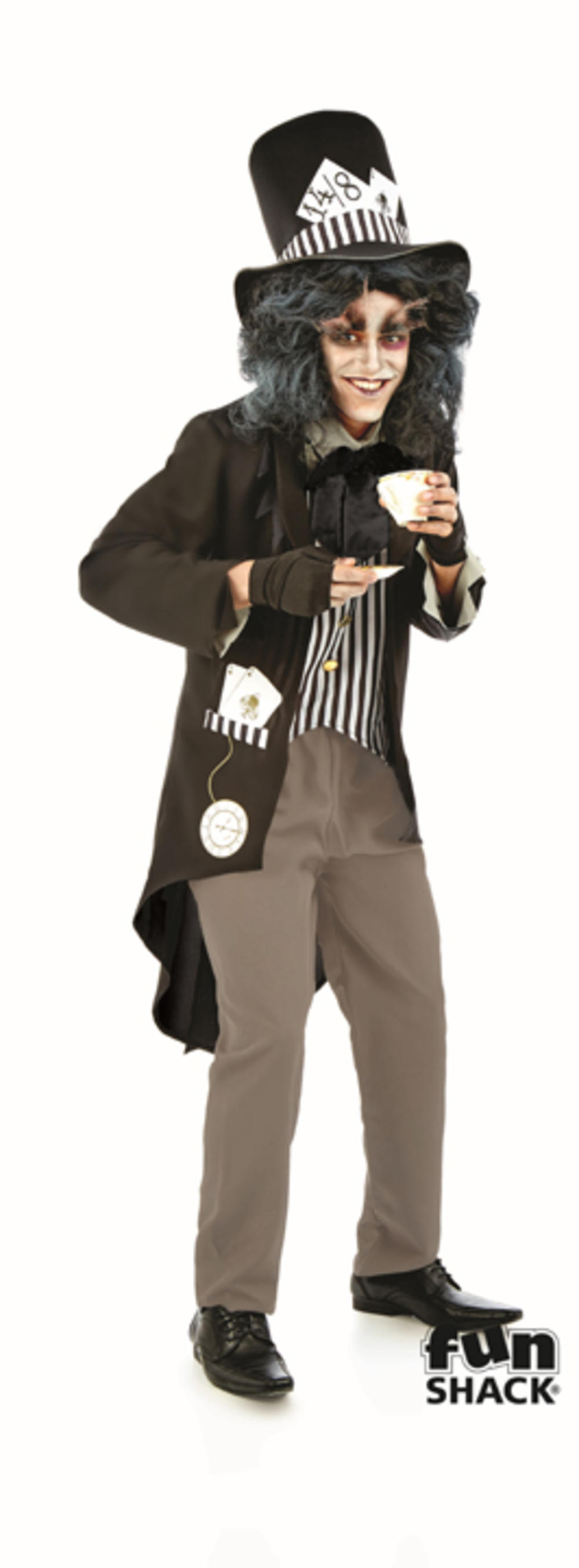 Dark Bad Mad Hatter Mens Fancy Dress Gothic Fairy Tale Adults Halloween Costume