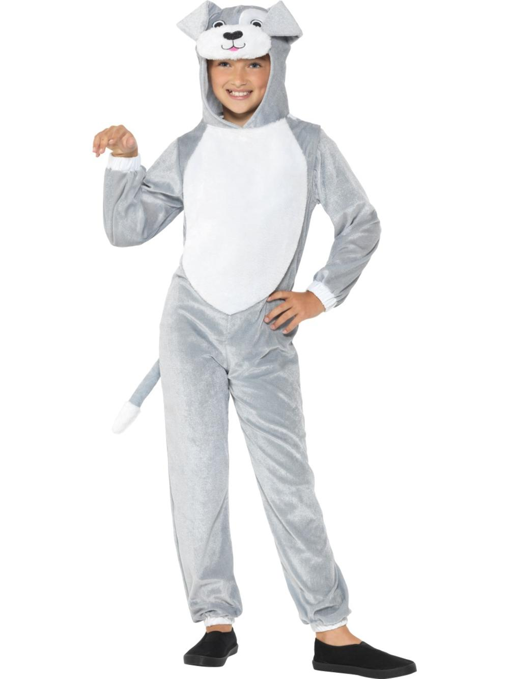 Grey Dog Jumpsuit Kids Fancy Dress Animal Puppy Boys Girls Book Day Week Costume