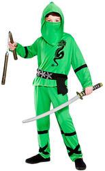 Green Ninja Boys Fancy Dress Japanese Samurai Warrior Kids Childs Costume Outfit