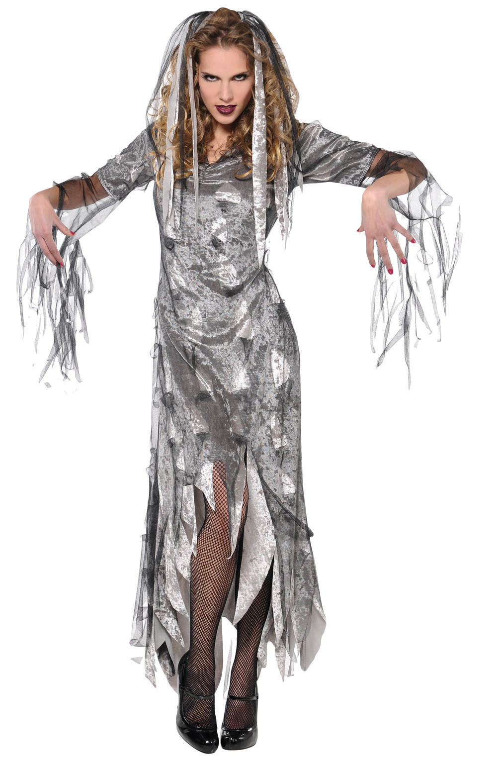 Graveyard Zombie Ladies Fancy Dress Halloween Ghost Womens Adults Costume Outfit