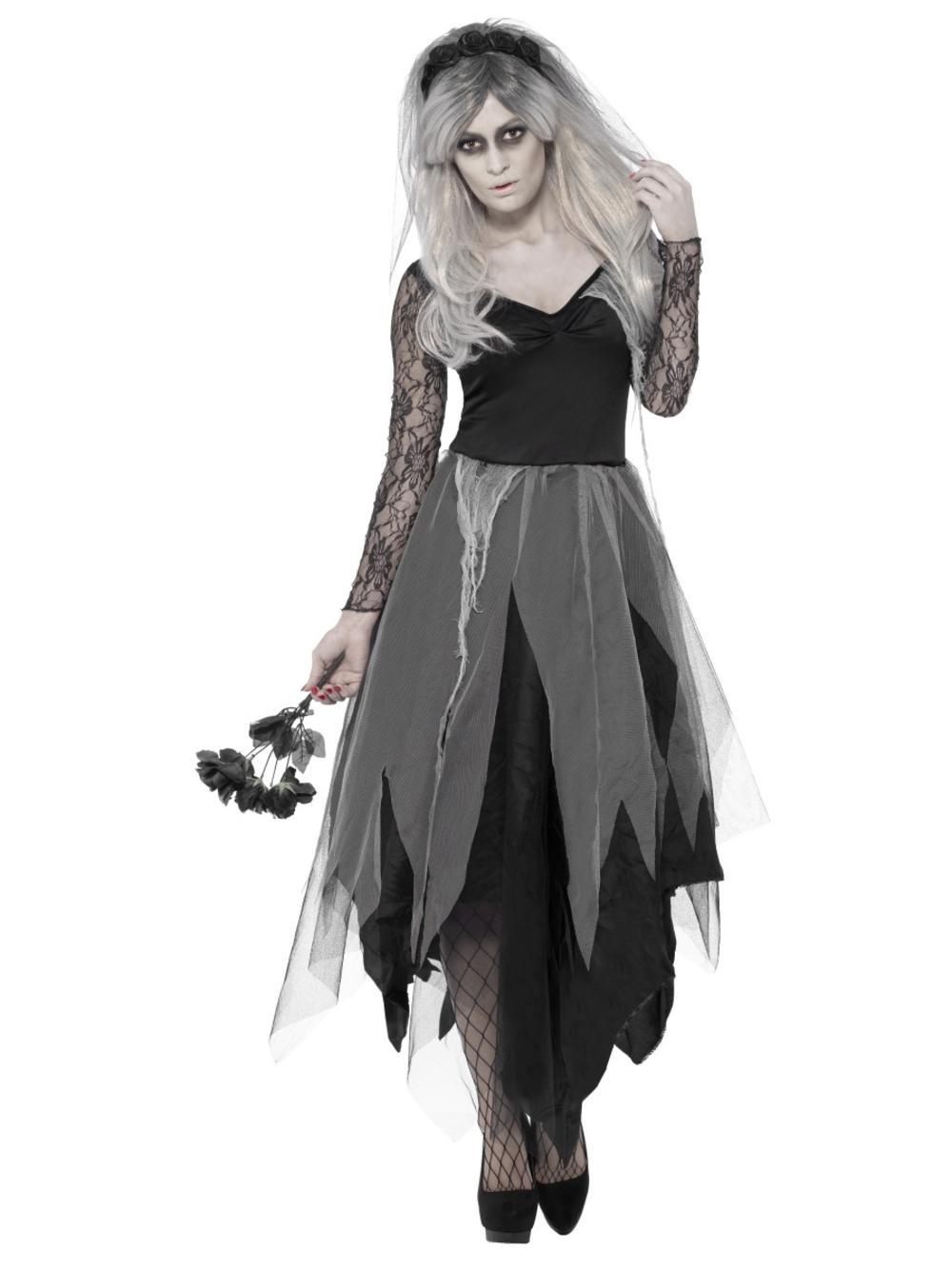 Graveyard Corpse Bride Ladies Fancy Dress Halloween Wedding Zombie Adult Costume