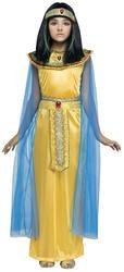 Golden Cleopatra Girls Fancy Dress Ancient Egyptian Queen Kids Childrens Costume
