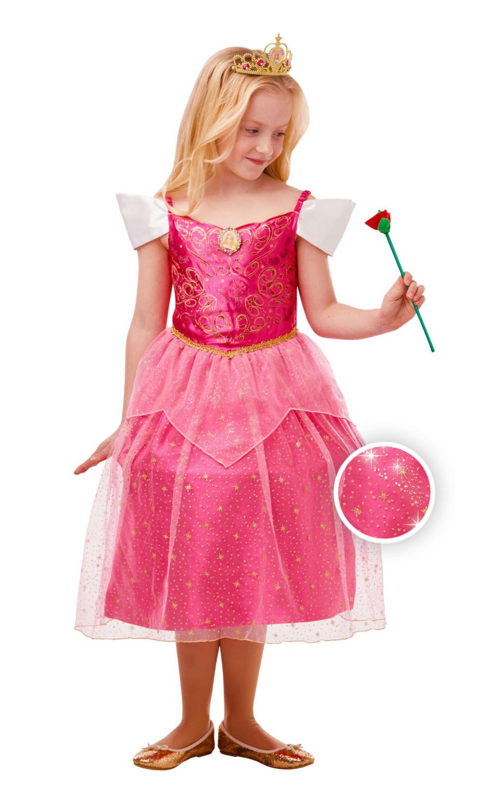 Aurora Girls Fancy Dress Sleeping Beauty Disney Princess Kids Fairy Tale Costume