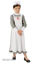 WW1 Nurse Girls Fancy Dress Hospital Uniform Kids Childs Childrens Costume 5-10