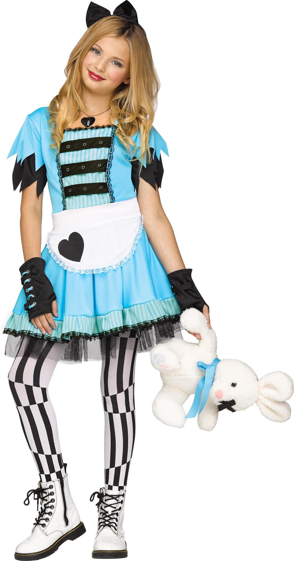 Wild Alice In Wonderland Girls Halloween Fancy Dress Kids Childs Costume Outfit