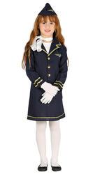 Stewardess Girls Fancy Dress Air Hostess Uniform Cabin Crew Kids Costume Outfit