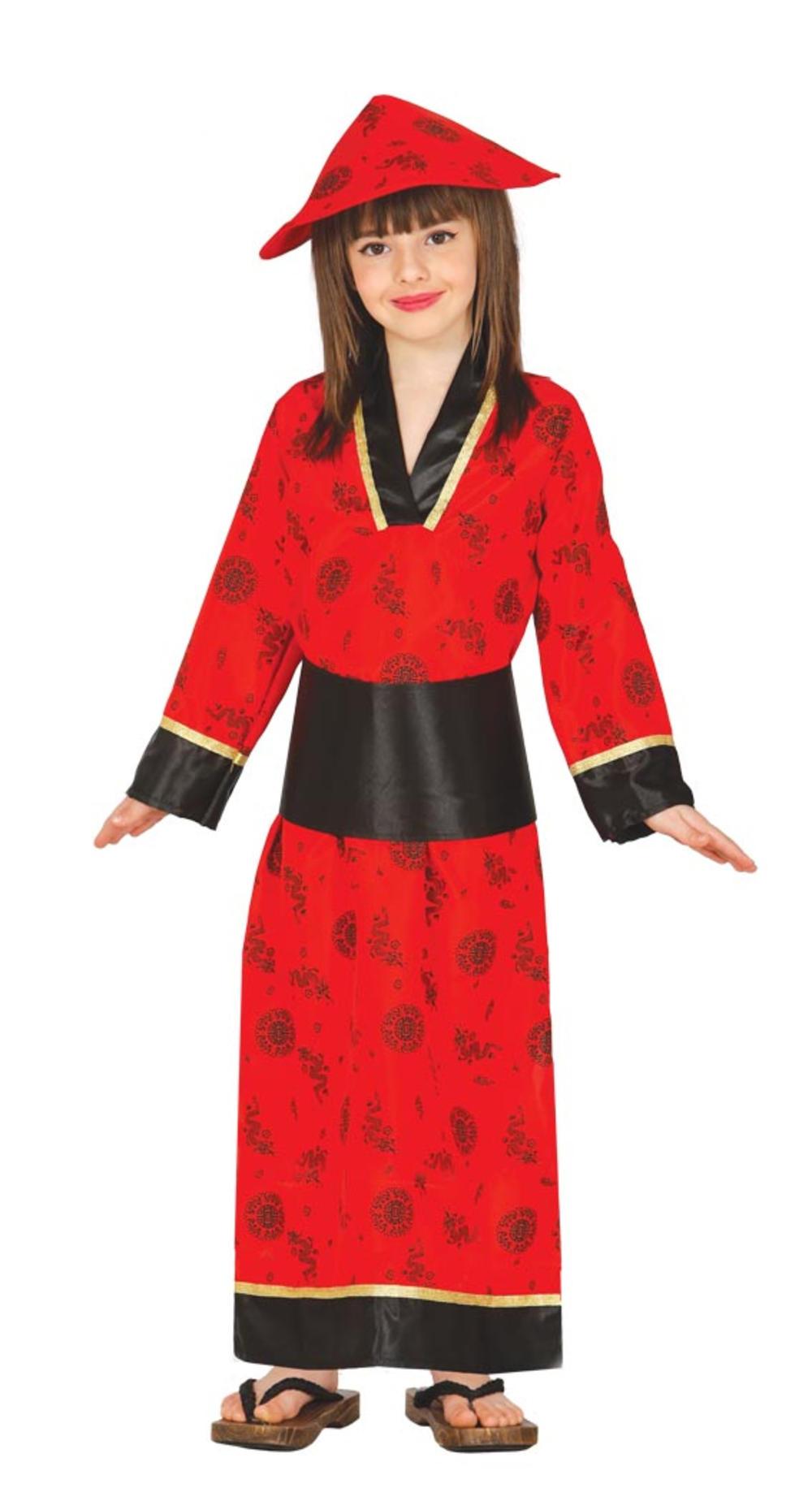 Chinese Oriental Girls Fancy Dress Red Geisha Kimono Kids National China Costume