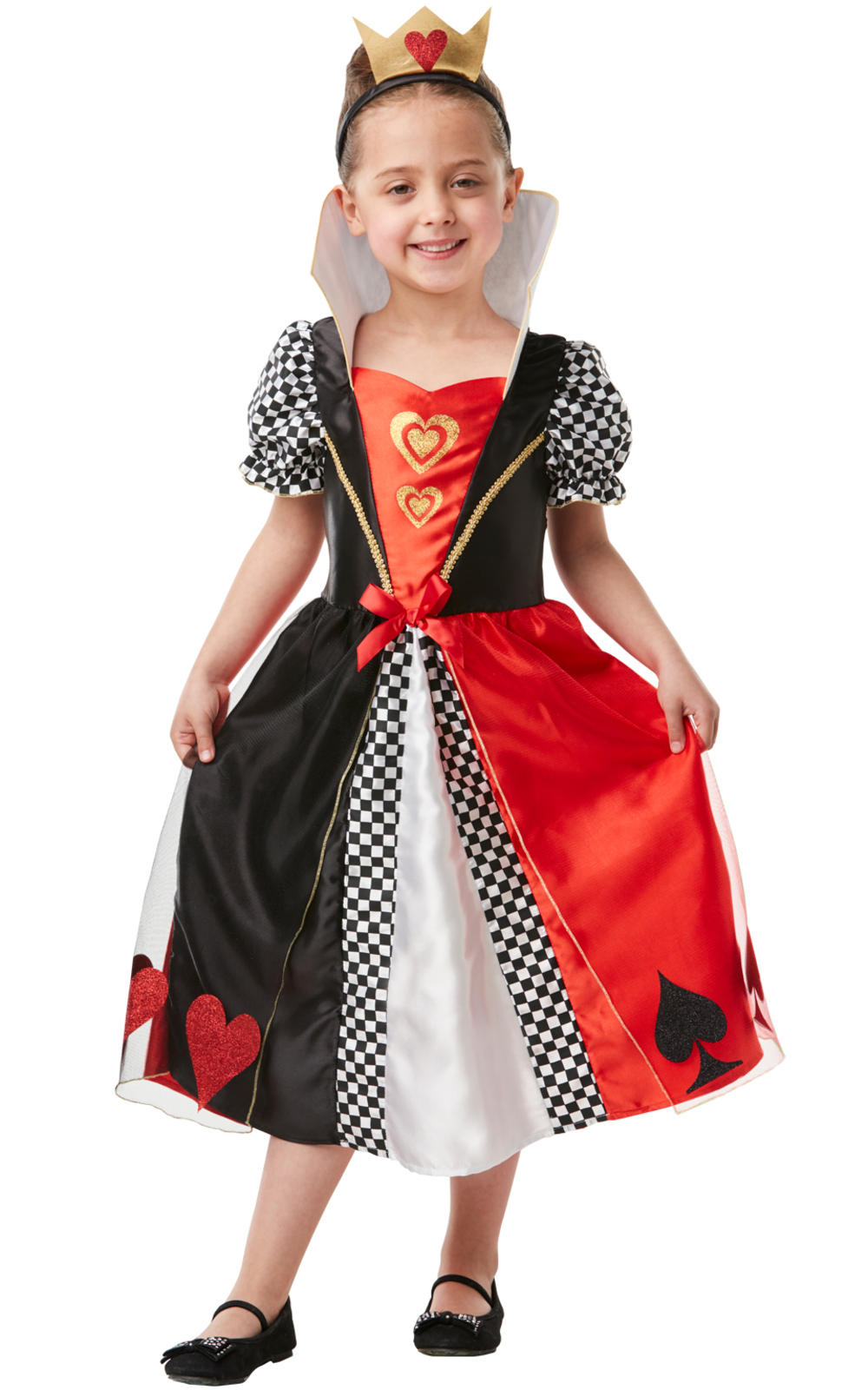 Queen Of Hearts Girls Fancy Dress Fairy Tale World Book Day Kids Costume Outfit