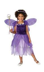 Plum Pixie Fairytale Fancy Dress Kids Girls Fairy Costume + Wings Ages 3-10