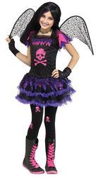 Pink Skull Fairy Girls Fancy Dress Haloween Fallen Angel Kids Childs Costume New