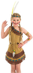 Indian Girl Fancy Dress Cowboys & Indians Western Childs Kids Costume Outfit New