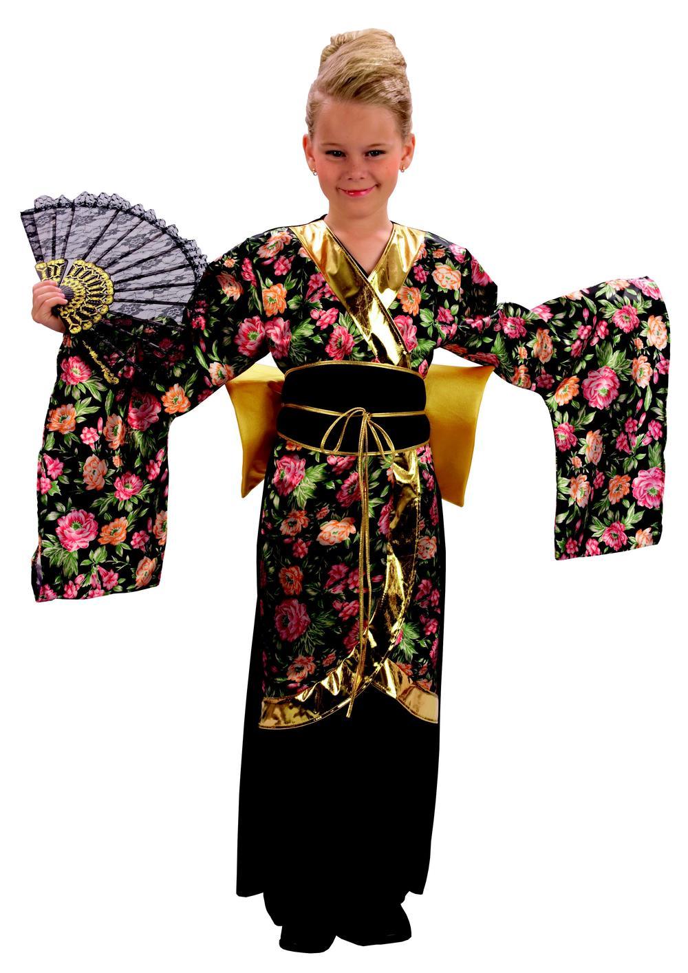Geisha Kimono Girls Fancy Dress Japanese National Dress Kids Costume Outfit New
