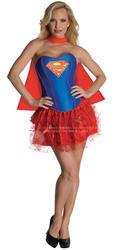 Sexy Supergirl Ladies Fancy Dress Marvel Superhero Adults Corset Style Costume