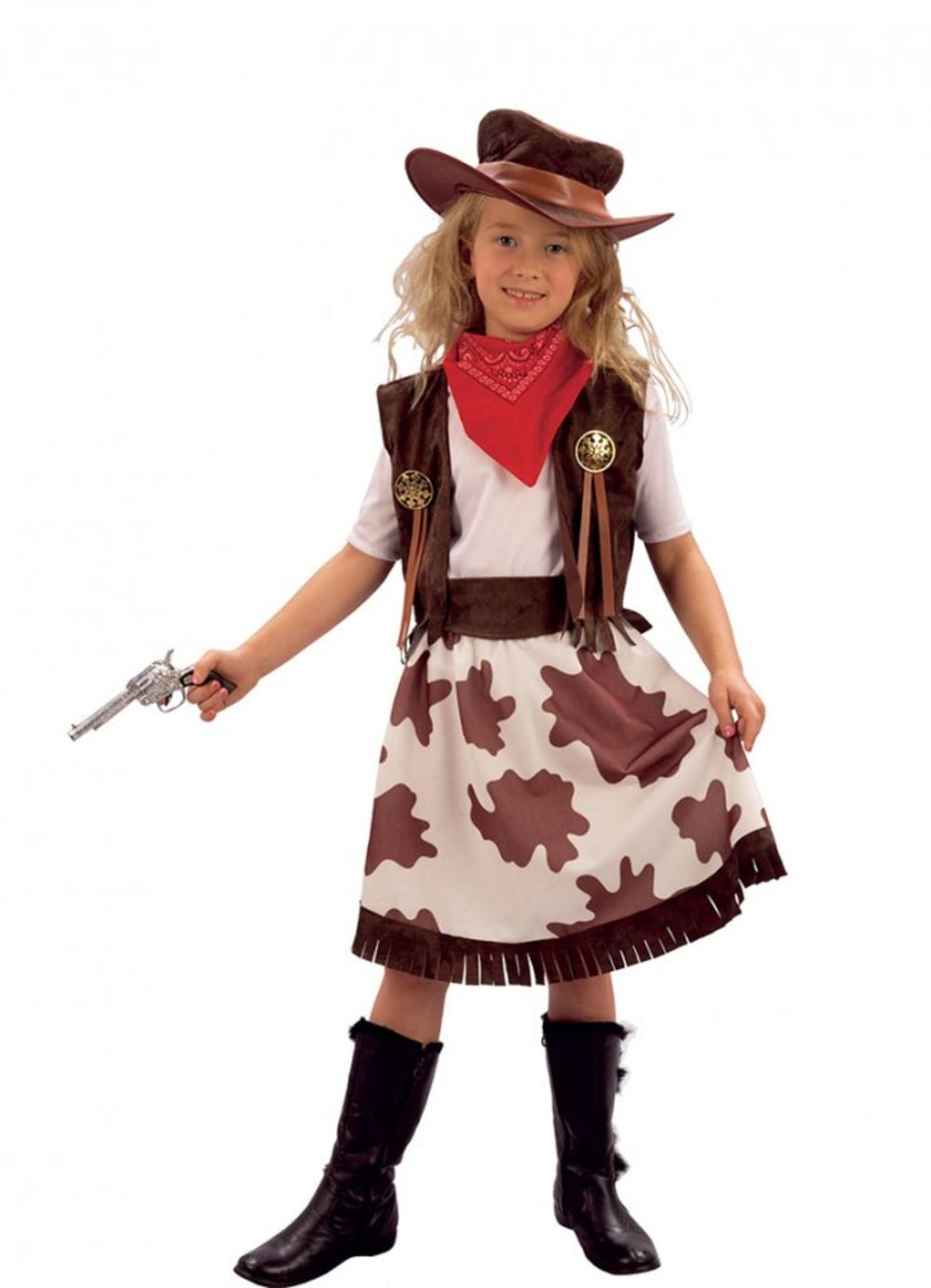 Cowgirl + Hat Girls Fancy Dress Wild Western Cowboy Kids Childs Costume Outfit