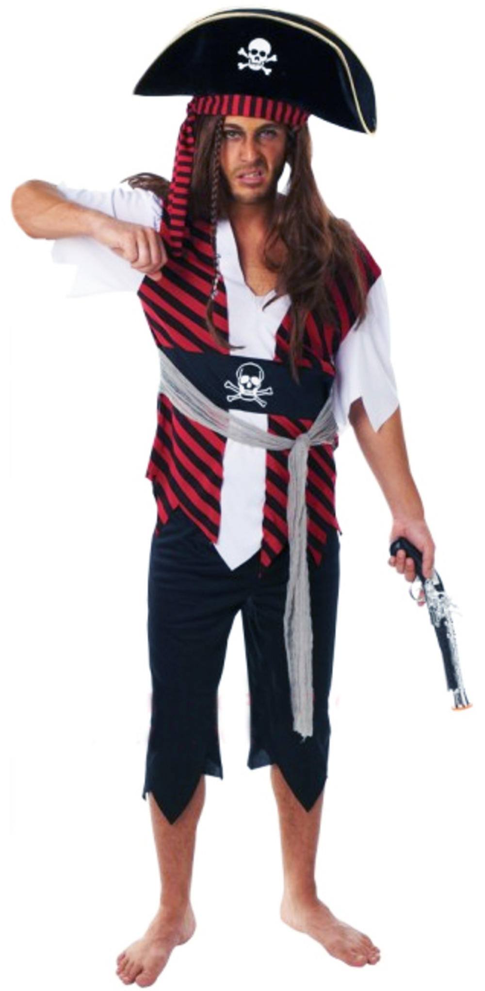 Caribbean Pirate Man Mens Fancy Dress High Seas Buccaneer Adults Costume Outfit