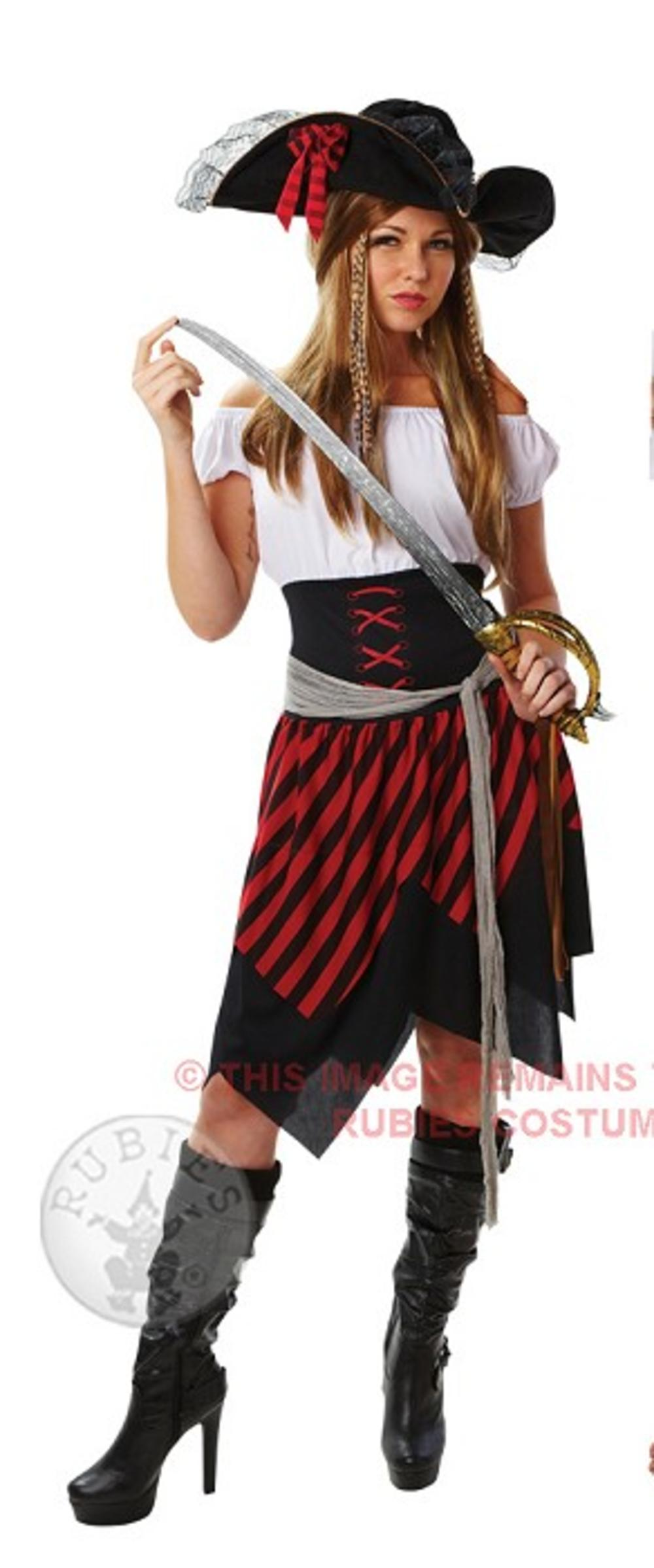 Pirate Caribbean Lady High Seas Fancy Dress Ladies Costume Womens Outfit