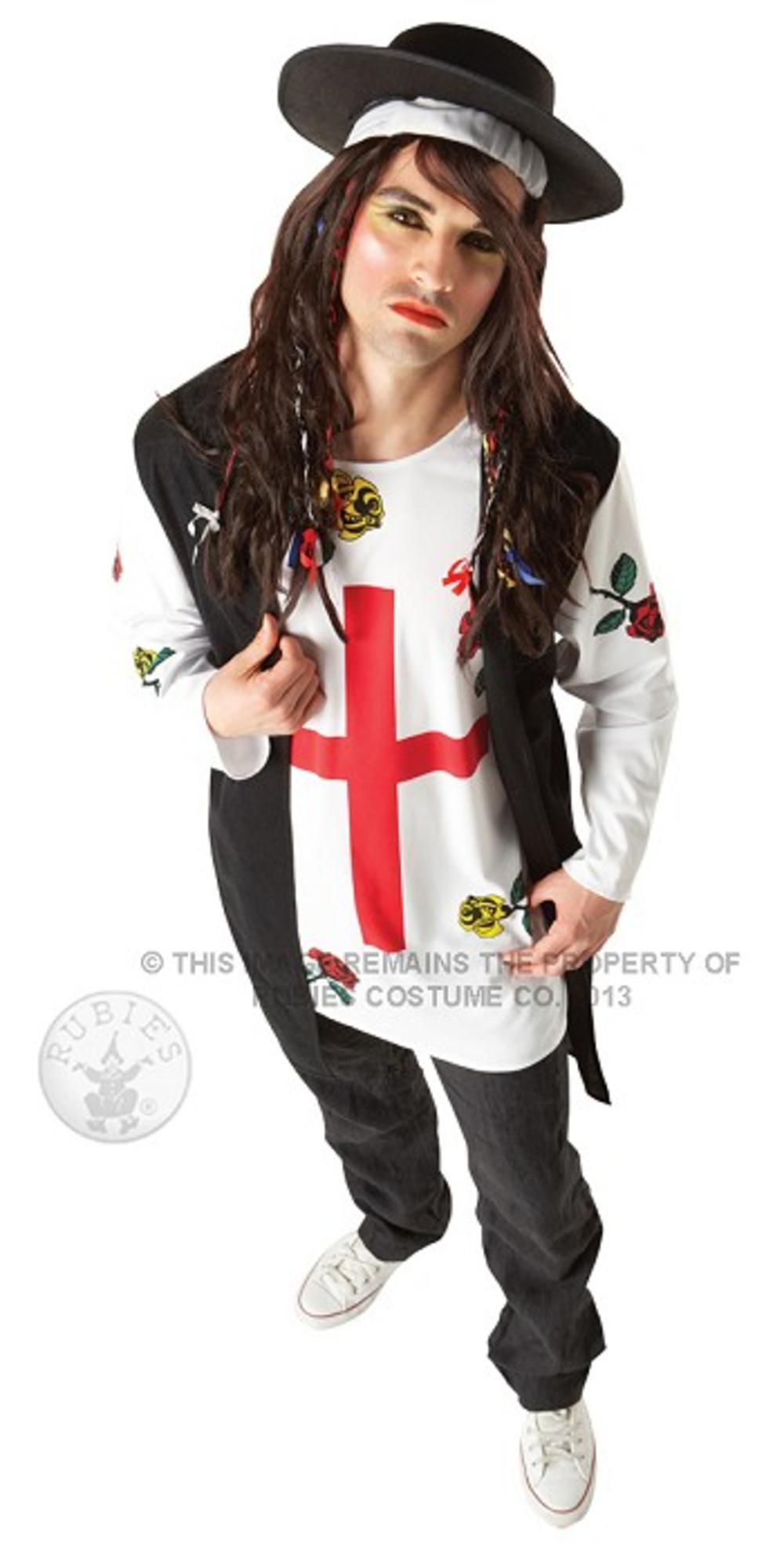 80s New Wave Pop Star Mens Fancy Dress 1980s Boy George Celebrity Adults Costume