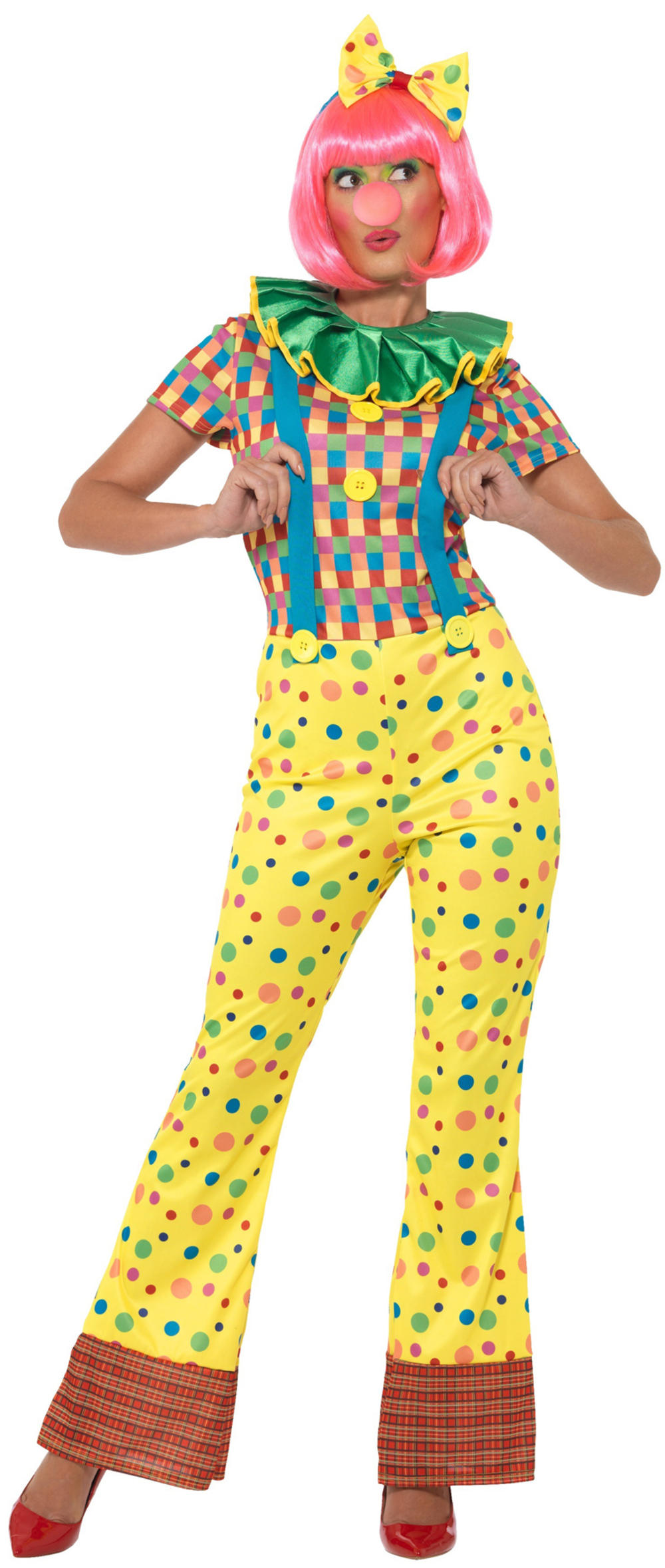Clown Ladies Fancy Dress Circus Carnival Colourful Spotty Womens Adults Costume