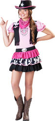 Western Cowgirl + Hat Girls Fancy Dress Wild West Rodeo Kids Childrens Costume