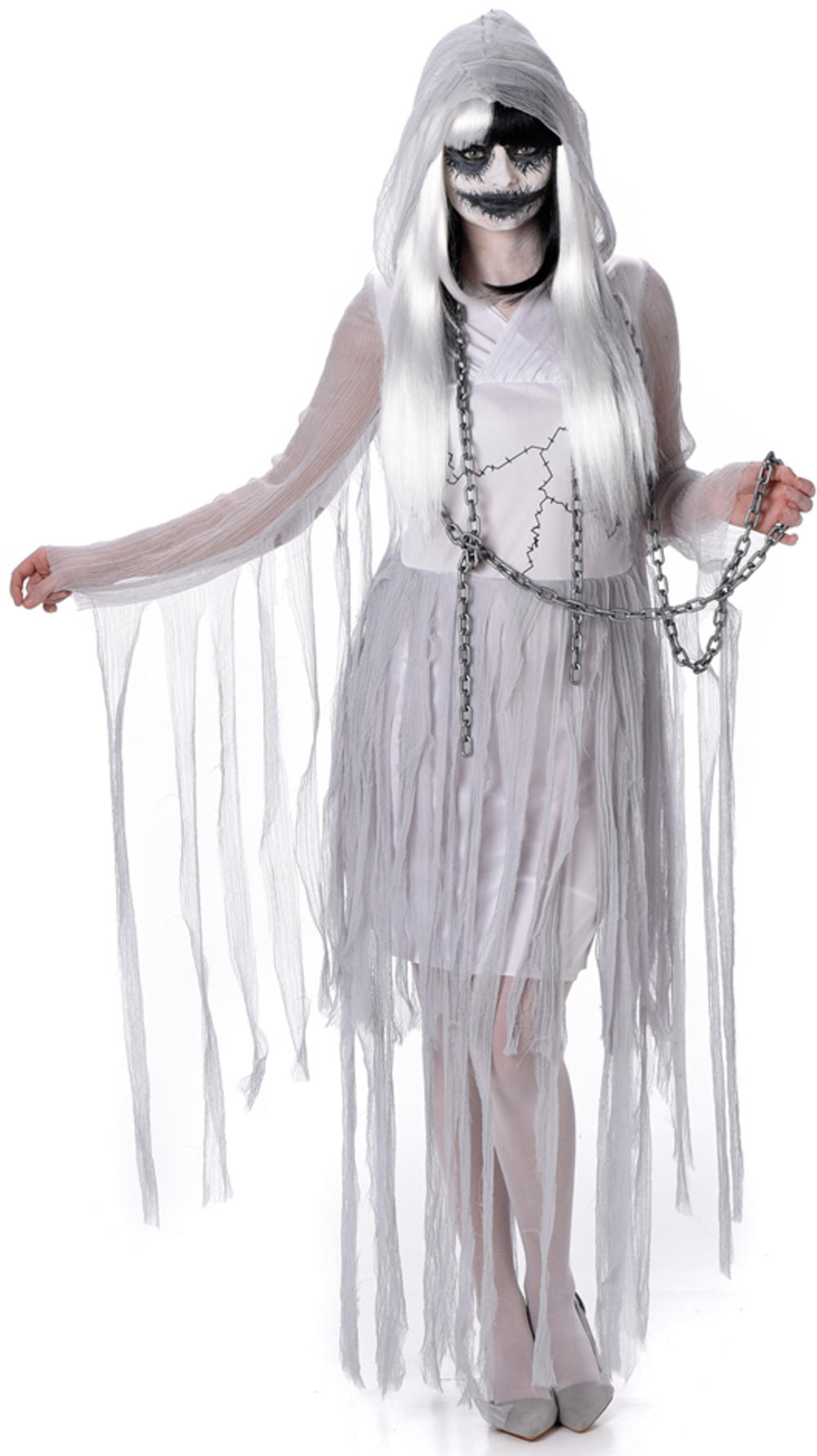 Ghostly Girl Ghoul Ladies Fancy Dress Womens Halloween Ghost Zombie Costume New