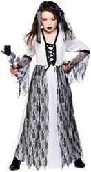 Ghost Bride Girls Fancy Dress Up Wedding Zombie Halloween Childrens Costume 3-10