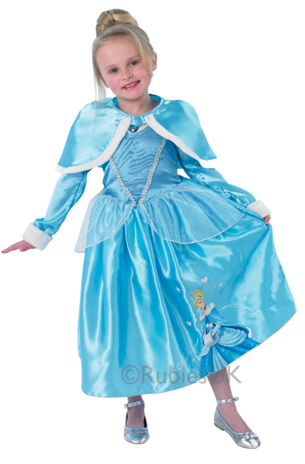 Deluxe Cinderella Winter Wonderland Girls Disney Fancy Dress Fairytale Costume