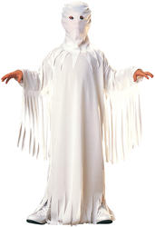 White Ghost Robe + Hood Kids Halloween Ghoul Fancy Dress Childs Costume 3-10 Yrs