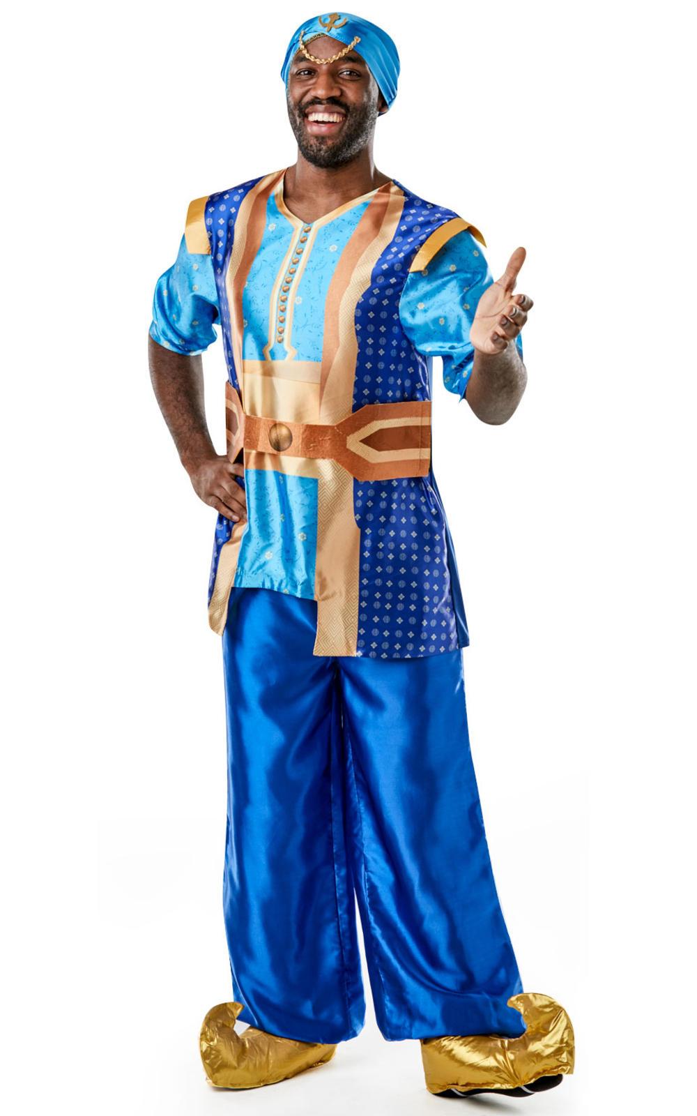 Genie Mens Fancy Dress Disney Live Action Aladdin Fairy Tale Adults Costume New