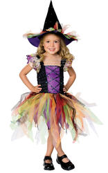Glitter Witch Girls Halloween Fancy Dress Kids Childrens Witches Costume Outfit