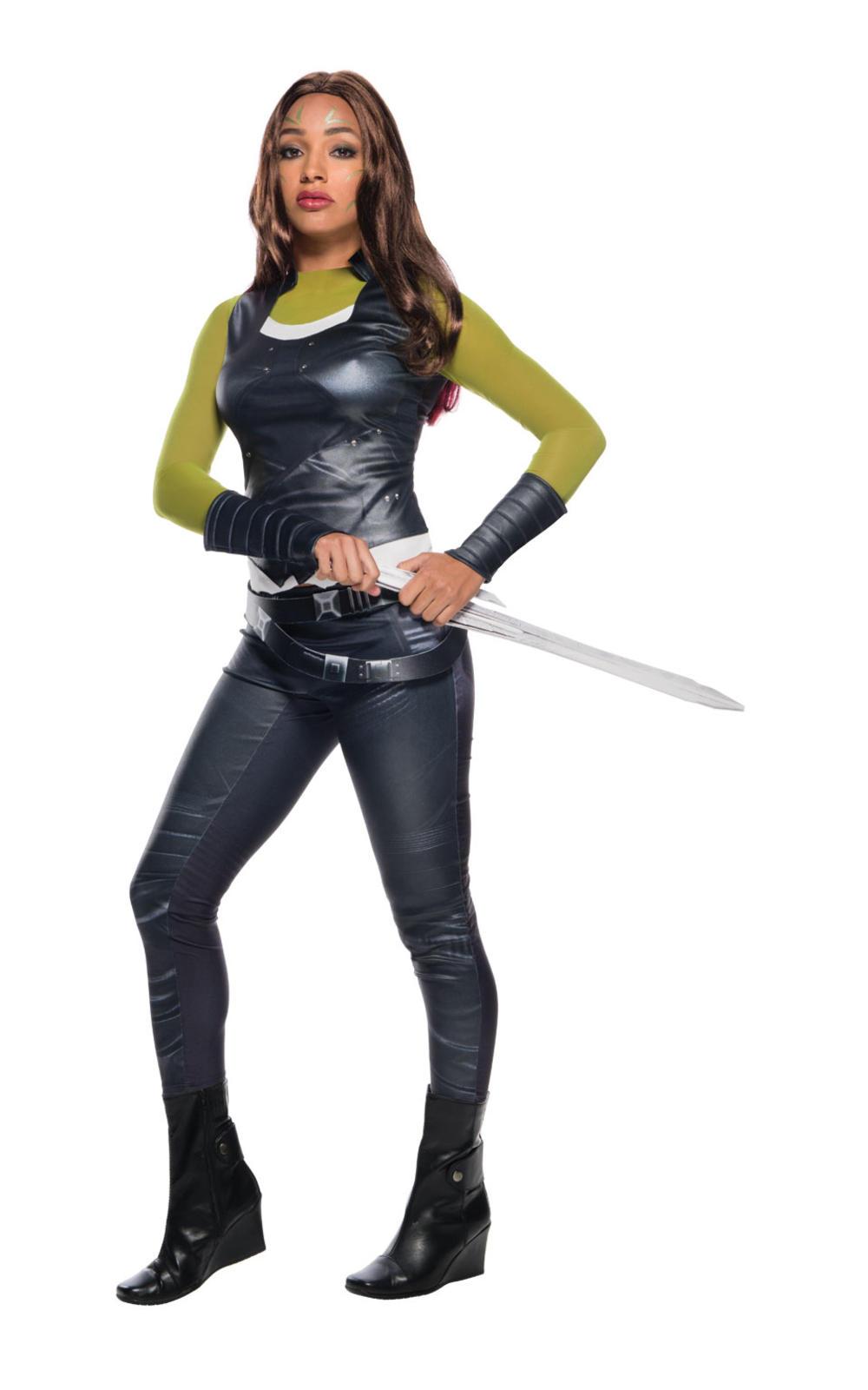 Gamora Ladies Fancy Dress Superhero Guardians of the Galaxy Womens Costume New