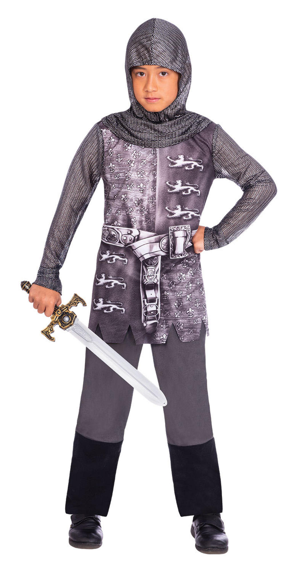Gallant Knight Boys Fancy Dress Armoured Medieval Soldier Kids Book Day Costume