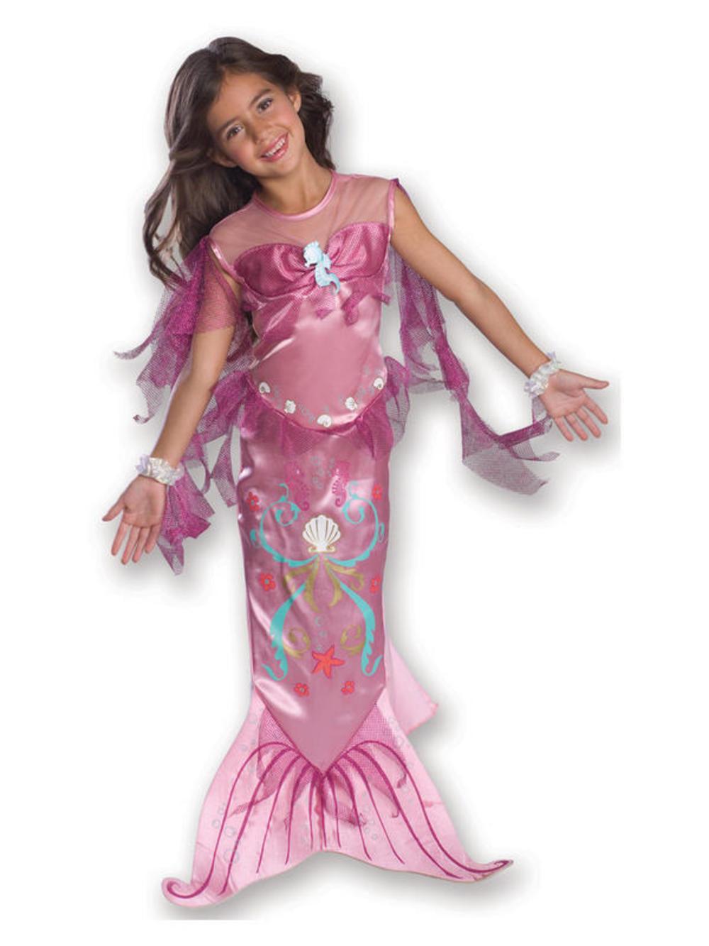 Pink Mermaid Princess Girls Fancy Dress Kids Fairytale Book Week Childs Costume