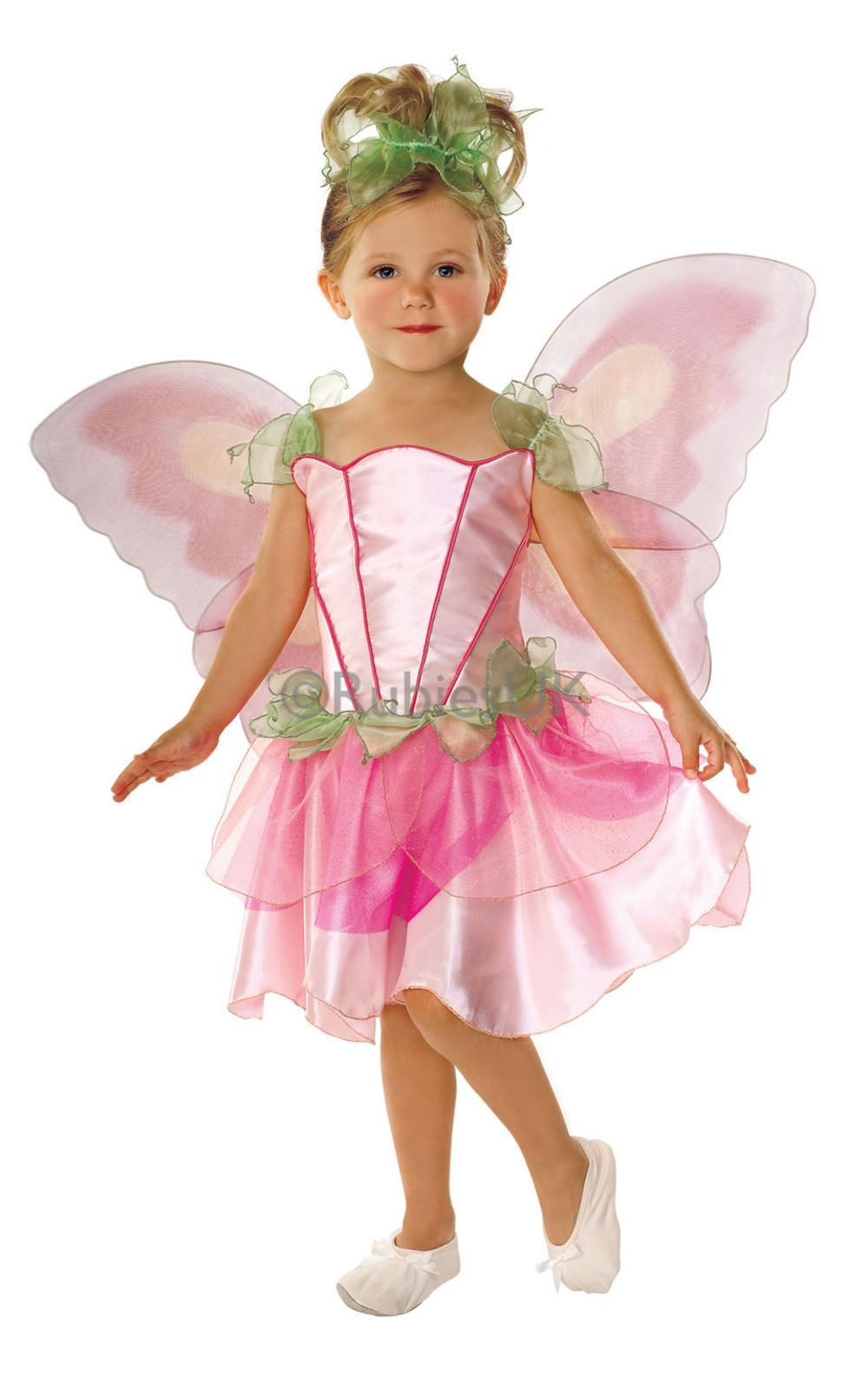 Springtime Pink Fairy Girls Fancy Dress Fairies Childs Kids Costume + Wings New