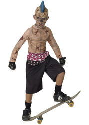 Zombie Skater + Mask BoysHalloween Fancy Dress Skate Punk Childs Costume Outfit