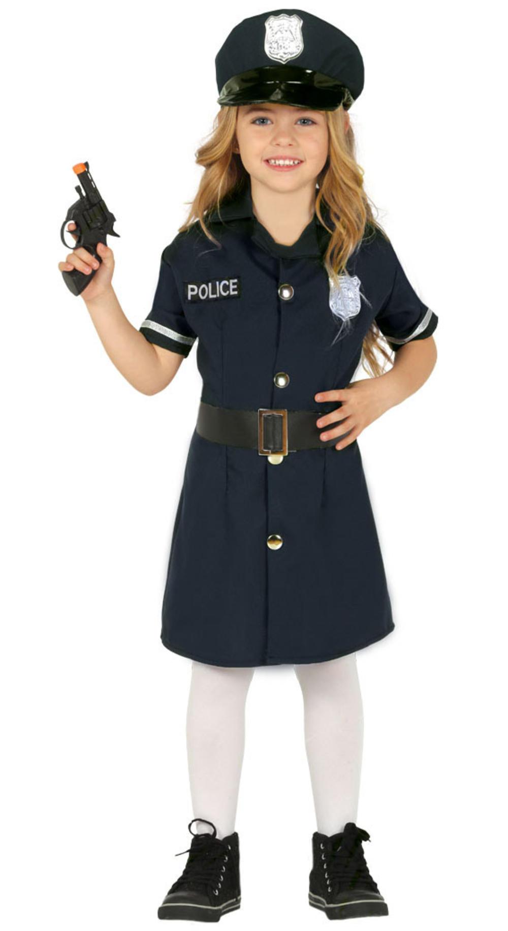 Police Officer Girls Fancy Dress Policewoman Cop Uniform Kids Book Day Costume