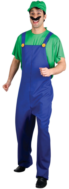 Green Plumber Mens Fancy Dress Super Mario 80s Video Game Adults Luigi Costume