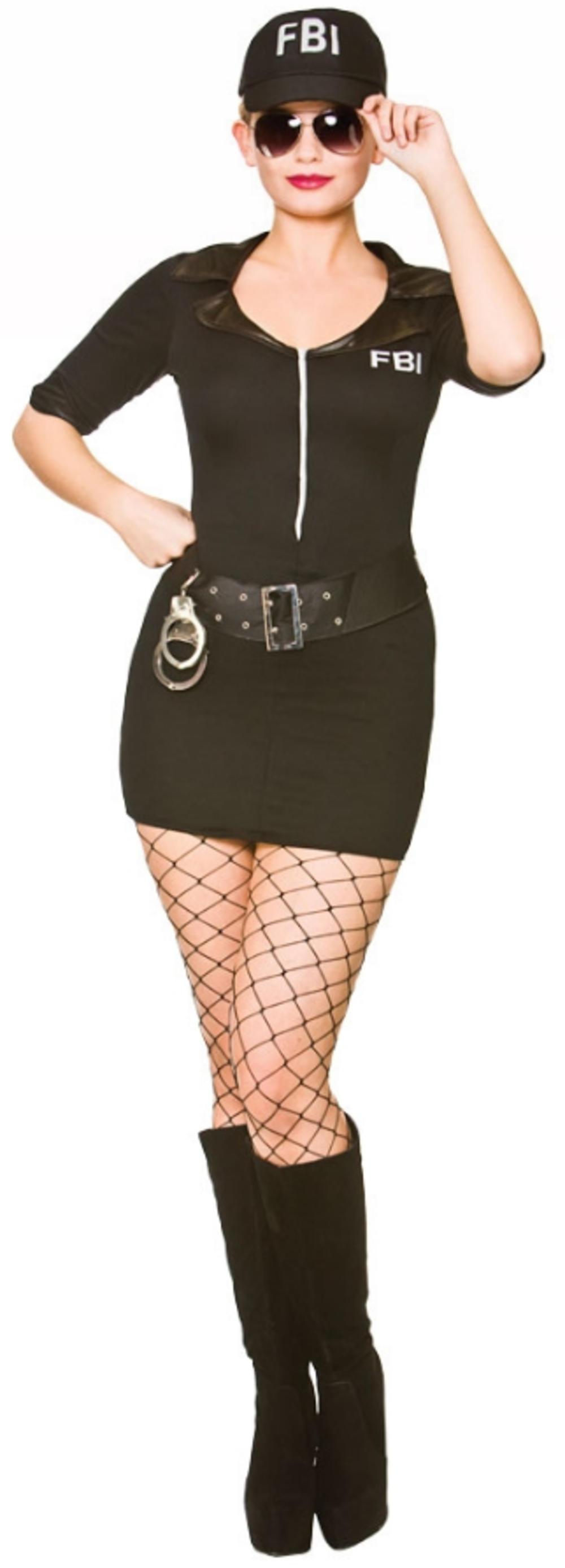 Sexy FBI Police Cop Ladies Fancy Dress Occupation Uniform Adults Womens Costume