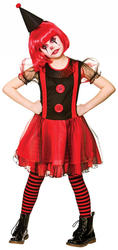 Freaky Clown Girls Fancy Dress Halloween Scary Horror Circus Childs Kids Costume